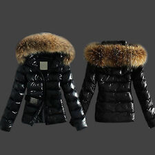 Winter Womens Warm Down Coat Parka Puffer Faux Fur Collar Hooded Quilted Jackets