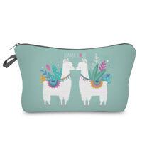 Cute Llama Printed Zipper Travel Storage Pouch Woman Cosmetic Bag Holder Newly