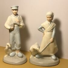 Porcelain Maiden Farmer Goose Figurine Geese Statue Blue White Vintage Pair Swan