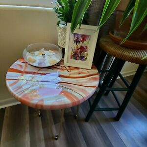Resin Round wood accent table