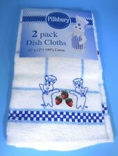 NWT 2005 Pillsbury Doughboy with Red Strawberries Dish Cloths - Lot of Two (2)
