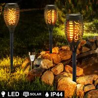 3 x LED SOLAR Außen Steck Fackel Lampe Weg Leuchte Feuer-Effekt Erdspieß Garten