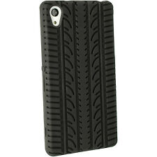 Black Tyre Silicone GEL Skin Case for Sony Xperia Z 2 D 6503 Cover Screen Prot
