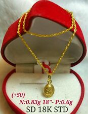 GoldNMore: 18K Gold Necklace & Pendant 18 inches chain