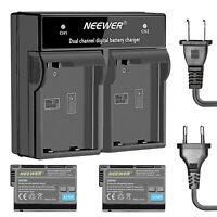 Neewer 2-Pack Li-ion Battery Replacement for Nikon EN-EL15 and Dual Charger