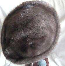 VINTAGE Scuro Grigio/Blu Visone Donna Cappello bella lucentezza al pelo