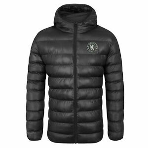 Official Chelsea FC Football Quilted Jacket Mens Large Hooded Winter Coat