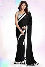 Multi Chiffon Plain Silver Border Party Wear Saree Sari Belly Dance 25 Color TOP