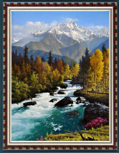 "Original Oil Painting art landscape waterfall on canvas 36""x48"""