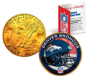 DENVER BRONCOS NFL 24K Gold Plated IKE Dollar US Coin *OFFICIALLY LICENSED*