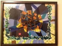 "ORIGINAL ABSTRACT OIL PAINTING  SIGNED BY ARTIST CUSTOM FRAMED 19 3/4"" X 15 3/4"