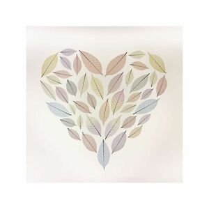 Heart Drawn with Leaves on White Background Art Wall Decor Print 1 60x60cm