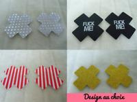 Cache tétons nippies pasties fin formes croix design couleur au choix burlesque