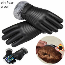 MENS TOUCH SCREEN FAUX LEATHER GLOVES THERMAL LINED BLACK DRIVING WINTER GLOVES