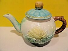 MAJOLICA WATER LILY TEAPOT TEA POT AND LID - ENGLAND - Antique Pond Lily