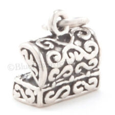 Tiny 3D TREASURE CHEST Jewels Pirate Bracelet Charm in STERLING SILVER Small