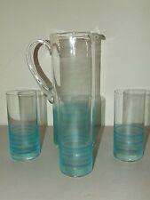 Vintage 1950's Mid Century Glass Water Lemonade Iced Tea Juice Pitcher & Glasses