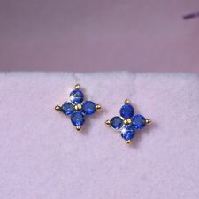 18k Gold 925 sterling silver blue CZ stud flower kid baby screw on earrings 6mm