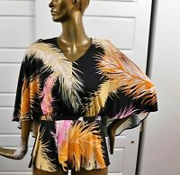 New Emilio Pucci Multi Mod Feather Print Silk Blend Wrap Blouse Top sz 8