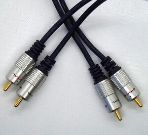 Pro Signal HQ Twin Phono 2 RCA to 2 RCA Plug Audio Lead OFC Cable 1m