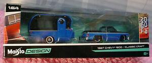 1987 CHEVY 1500 truck / CLASSIC CRAFT✰blue/black✰Maisto Design TOW & GO✰1:64