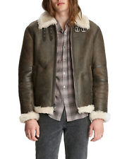 John Varvatos Mens Lamb-Searling Leather Flight Jacket Medium 50 Rye