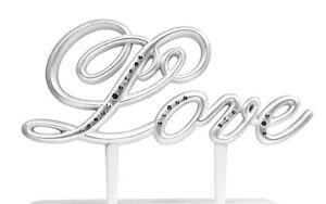 Love Themed Wedding Cake Topper Pick L-o-v-e Reception Gift Rhinestone Script