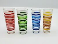 Vintage MCM Cerve Italy Striped Tall Shot Glasses Sipping Glass Barware Set of 4