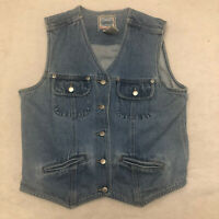 Vintage St Johns Bay Denim Vest 100% Cotton Women's Size Small Jean Jacket