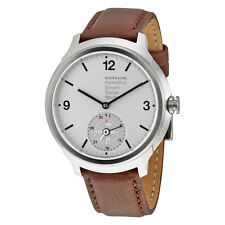 Mondaine Helvetica No 1 Bold Smart Silver Dial Brown Leather Mens Watch
