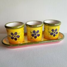 PartyLite Flower Pot Trio Set of 3 Votive Candle Holders Matching Ceramic Tray