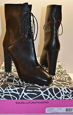 New $550 Diane Von Furstenberg Paden Black/Tumbled Calf Leather Boot sz 8