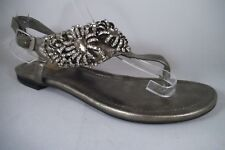 NEW TWO LIPS THONG SANDALS PEWTER CRYSTAL BEADING TRIM SIZE 9 ADJ BUCKLE STRAPS