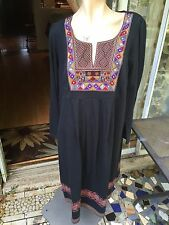 NWT TAILLISSIME sz.L(18/20) Dress/Tunic Black Embellished 100% Cotton