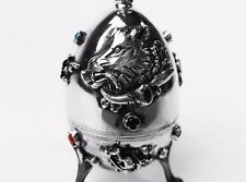 Antique Imperial Russian 1878 Silver 84 Jewish Egg Wild Pigs