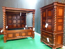 """USA King Size 76""""x80"""" Sophisticated carved Mahogany Four Poster TUDOR canopy bed"""