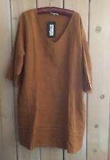 Bryn Walker Sz L Jude Golden Honey V Neck Artsy Lagenlook Linen Tunic W/ Pockets
