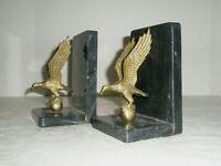 Vintage Book Ends Brass Eagles Marble or Granite Base
