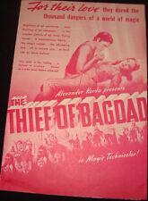 "Old vintage paper movie Herald of Sabu Movie ""Thief of Baghdad"" from USA 1939"