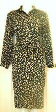 Stanley Herman shirt dress vintage cotton 8 black tan animal print obi sash