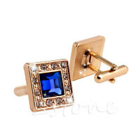 Men's Blue & Gold Crystal Square Wedding Shirt Cuff Links Cufflinks Party Gift