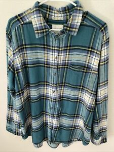 American Eagle Outfitters Women's Blue Soft Flannel Shirt Size Large