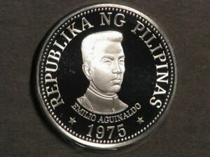 PHILIPPINES 1975 25 Piso Aguinaldo Silver Crown Choice Proof