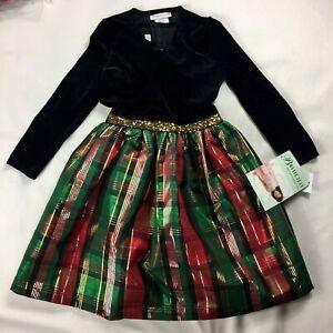 BONNIE JEAN Black Velvet & Plaid Taffeta Dress w/Cardigan sz 6X NWT Holiday