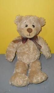 "14"" FIRST & MAIN Teddy Bear Regis #1895 Beige Curly Shag Stuffed Bean Tush Plush"