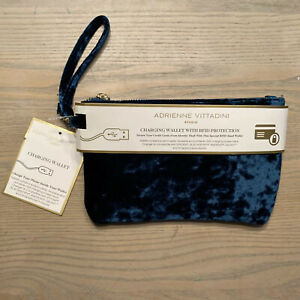 ADRIENNE VITTADINI STUDIO - Teal Velvet - Charging Wallet RFID Protection - NEW!