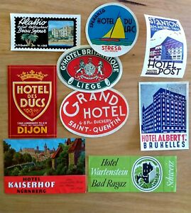 9 x TRAVEL LUGGAGE LABELS DECALS VINTAGE OLD