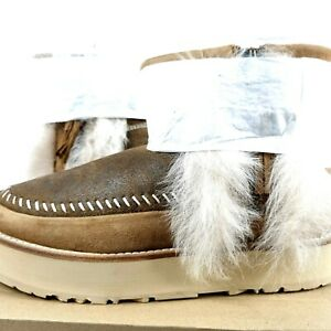 UGG Fluff Punk Boot Women Size 8 1104231 Chestnut Bomber Fur Ankle Zip Minis New
