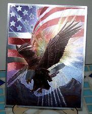 Alubild Alu-Bild: Adler Weißkopfadler mit amerikanischer Flagge USA Eagle #2136
