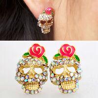Women Cute Pink Rose Rhinestone Skeleton Skull Ear Studs Earrings Jewelry New TB